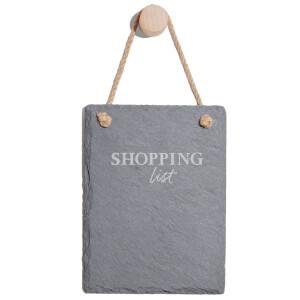 Shopping List Engraved Slate Memo Board - Portrait