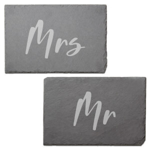 Mr and MRS Engraved Slate Placemat - Set of 2