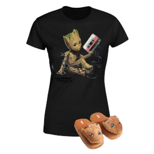 Marvel Guardians Of The Galaxy Groot T-Shirt & Slippers Bundle - L/XL Slippers
