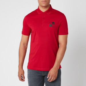 Armani Exchange Men's Square Logo Polo Shirt - Red