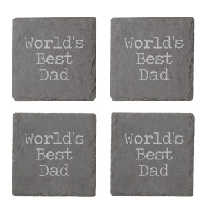 World's Best Dad Engraved Slate Coaster Set
