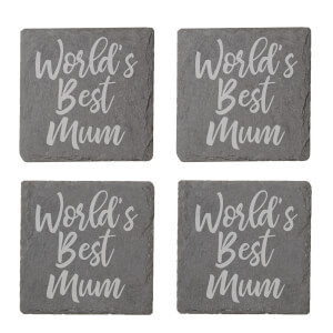 World's Best Mum Engraved Slate Coaster Set