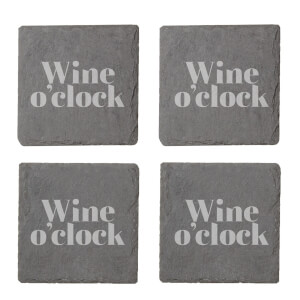 Wine O'Clock Engraved Slate Coaster Set