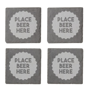 Place Beer Here Engraved Slate Coaster Set