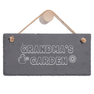 Grandma's Garden Engraved Slate Hanging Sign