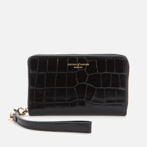 Aspinal of London Women's Continental Midi Purse with Strap - Black Croc