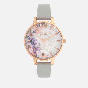 Olivia Burton Women's Quartz Florals Watch - Grey/Rose Gold