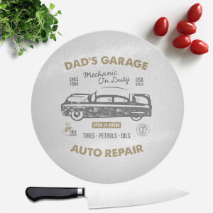 Dad's Garage Round Chopping Board