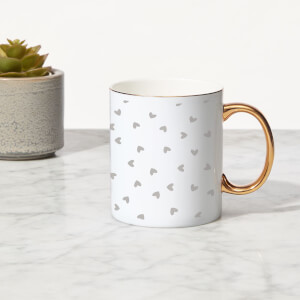 Hearts Bone China Gold Handle Mug