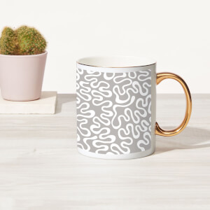 Squiggles Bone China Gold Handle Mug