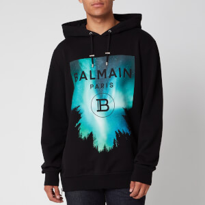 Balmain Men's Printed Rubber Oversized Hoodie - Multi