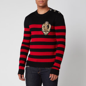 Balmain Men's Striped Wool Knit Badge Jumper - Black/Red