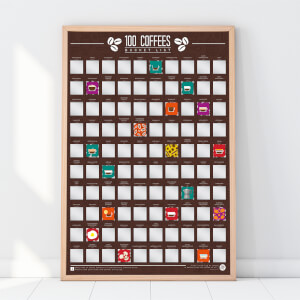 100 Coffees Bucket List Scratch Poster