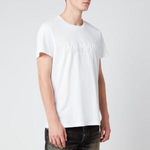 Balmain Men's Embossed Logo T-Shirt - White