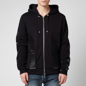 Balmain Men's Zipped Flock Hoodie - Black