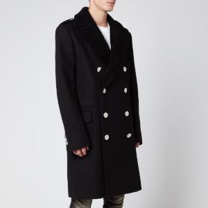 Balmain Men's Shearling Collar Classic Coat - Black
