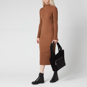 KENZO Women's Skinny Rib Long Dress - Chestnut