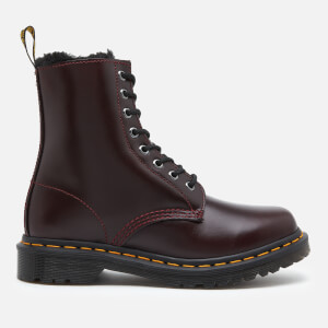 Dr. Martens Women's 1460 Serena Fur Lined Leather 8-Eye Boots - Oxblood