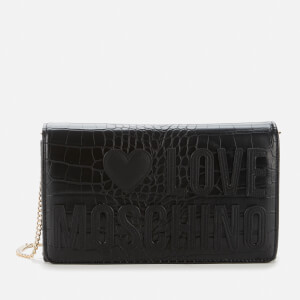 Love Moschino Women's Croc Print Logo Bag - Black