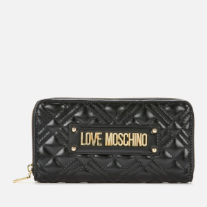 Love Moschino Women's Quilted Zip Around Wallet - Black