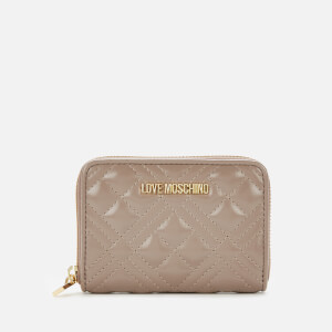 Love Moschino Women's Quilted Small Zip Around Wallet - Taupe