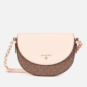 MICHAEL MICHAEL KORS Women's Jet Set Charm Medium Half Dome Cross Body Bag - Brown/Soft Pink