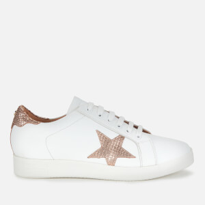 Dune Women's Edris S Leather Cupsole Trainers - White/Rose Gold