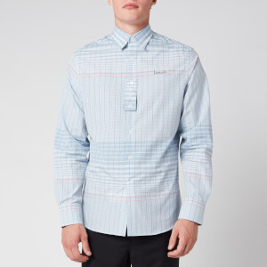 Lanvin Men's Adjustable Cuff Check Shirt - Blue/Pink