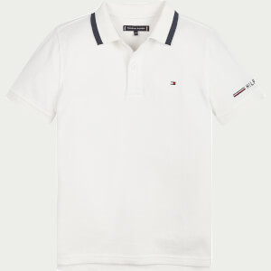Tommy Hilfiger Boys' Global Stripe Tipping Polo Shirt - White