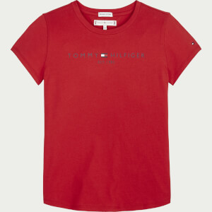 Tommy Hilfiger Girls' Essential Short Sleeve T-Shirt - Deep Crimson