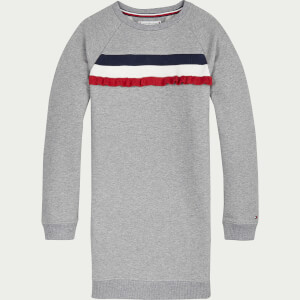 Tommy Hilfiger Girls' Ruffle Rib Sweatshirt Dress - Mid Grey Heather