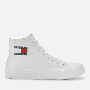 Tommy Jeans Men's Mid Cut Canvas Hi-Top Trainers - White