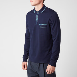 Missoni Men's Long Sleeve Chest Pocket Polo Shirt - Navy