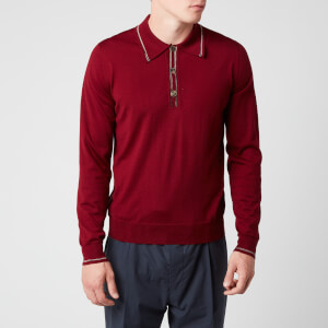 Missoni Men's Outline Detail Long Sleeve Polo Shirt - Red