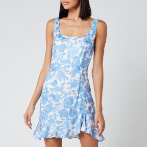 De La Vali Women's Christabel Printed Jacquard Short Dress - Blue Primrose