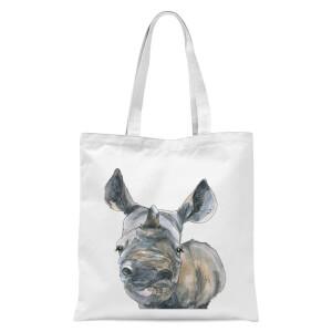 Snowtap Rhino Tote Bag - White