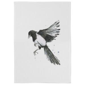 Snowtap Magpie Cotton Tea Towel - White