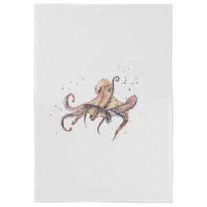Snowtap Octopus Cotton Tea Towel - White