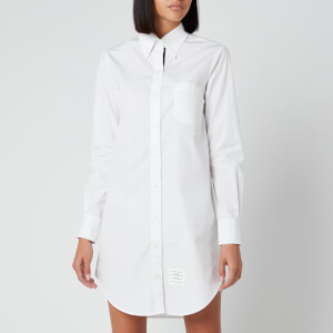 Thom Browne Women's Classic Long Sleeve Button Down Shirt Dress - White