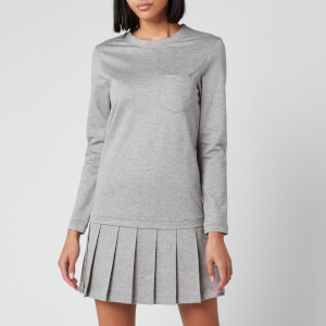 Thom Browne Women's Drop Waist Pleated Bottom Dress - Light Grey