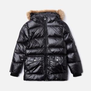 Pyrenex Girls' Authentic Shiny Synthetic Fur Jacket - Black