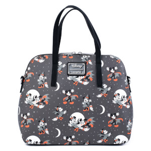Loungefly Disney Mickey Minnie Halloween Vamp Witch AOP Crossbody Bag