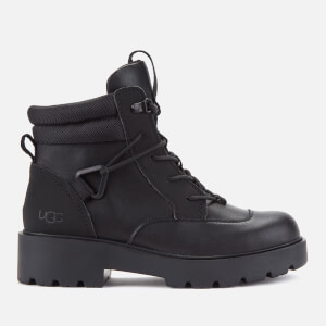 UGG Women's Tioga Waterproof Leather Hiking Style Boots - Black