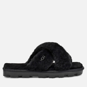 UGG Women's Fuzzette Skeepskin Slide Slippers - Black