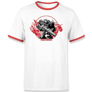 Transformers Earthrise Retro Unisex Ringer T-Shirt - Wit / Rood