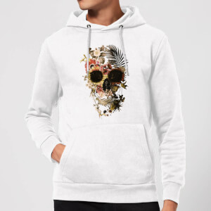 Ikiiki Floral Skull Hoodie - White