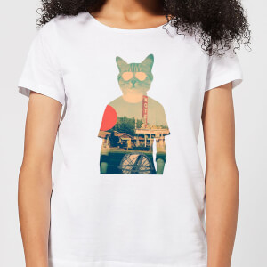 Ikiiki Cool Cat Women's T-Shirt - White