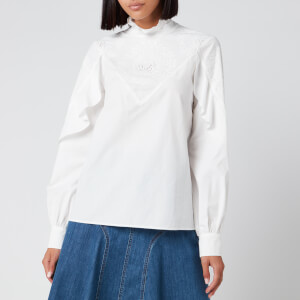 See By Chloé Women's High Neck Blouse - Confident White