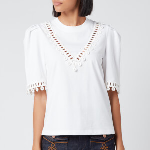 See By Chloé Women's Lace Trim Top - White Powder