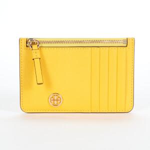 Tory Burch Women's Robinson Top-Zip Card Case - Lemon Drop